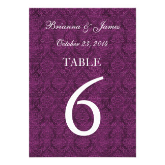 Purple Table Number 6 Elegant Damask Background Announcements