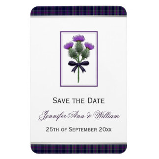 Purple Tartan Plaid and Thistle Save the Date Magnet