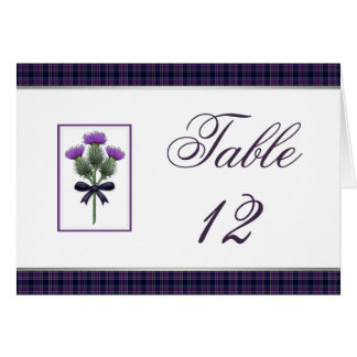 Purple Tartan Plaid and Thistle Table Number