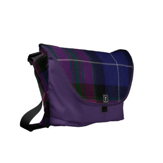Purple Tartan Plaid Messenger Bag