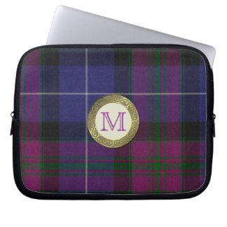 Purple Tartan Plaid Monogram Laptop Cover Laptop Sleeve