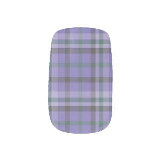 Purple Tartan Plaid Patterned Mani  - Nail Stickers