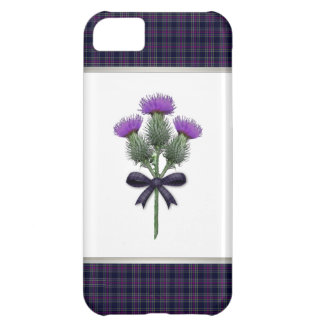 Purple Tartan Plaid & Scottish Thistle Flowers Case For iPhone 5C