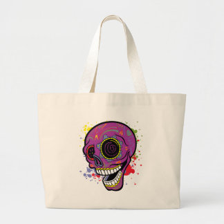 Purple Tattoo Sugar Skull With Paint Splashes Large Tote Bag