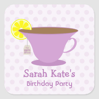 Purple Teacup Birthday Party Stickers