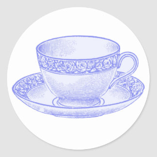 Purple Teacup Round Sticker
