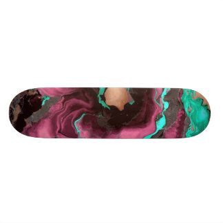 Purple teal and black Marble. Skate Boards