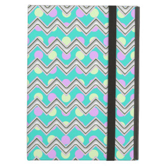 Purple teal and yellow polka dotted chevron iPad air case