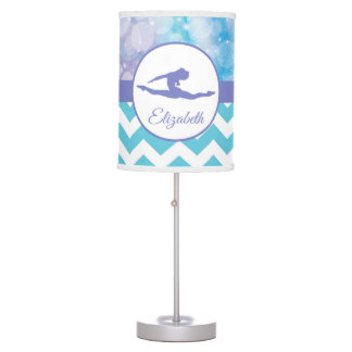 Purple Teal Aqua Gymnastics Silhouette Lamp