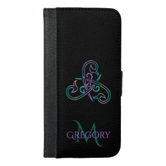 Purple Teal Black Celtic Triskele Wallet Case