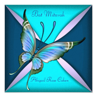Purple Teal Blue Butterfly Bat Mitzvah Card