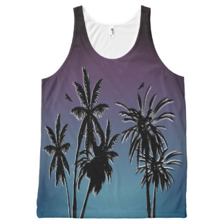 Purple Teal Blue Fade Black Palm Trees Sunset All-Over-Print Tank Top