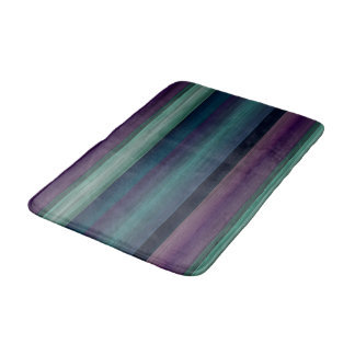 Purple Teal Blue Green Watercolor Stripes Pattern Bath Mat