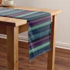 Purple Teal Blue Green Watercolor Stripes Pattern Medium Table Runner
