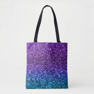 Purple Teal Blue Ombre Glitter Bokeh Tote Bag