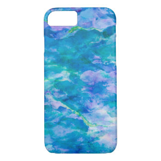 Purple Teal Blue Watercolor Texture Pattern iPhone 8/7 Case