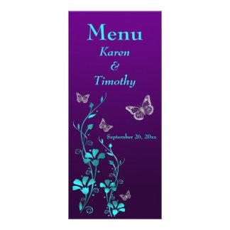 Purple, Teal Butterfly Floral Wedding Menu Card