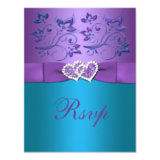 Purple, Teal Floral Hearts Monogram Wedding RSVP Card