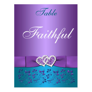 Purple, Teal Floral, Hearts Table Name Card Post Cards