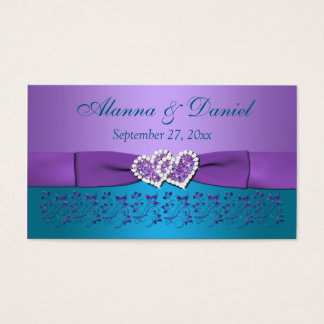 Purple, Teal Floral, Hearts Wedding Favor Tag