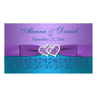 Purple, Teal Floral, Hearts Wedding Favor Tag Business Card