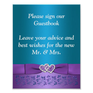 Purple, Teal Floral Hearts Wedding Sign