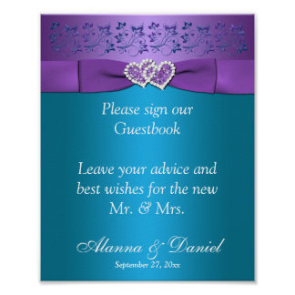 Purple, Teal Floral Hearts Wedding Sign 2