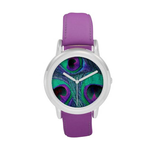 Purple, Teal, Hot Pink Peacock Feathers Watch