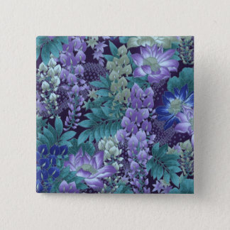 Purple & Teal Jungle Flowers 2 Inch Square Button