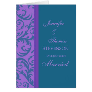 Purple Teal Just Married Announcement Card