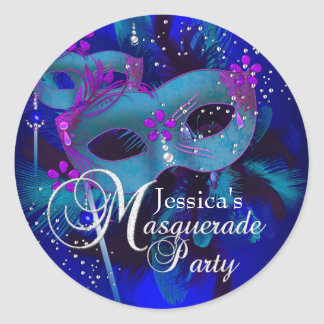 Purple Teal Masks Masquerade Party Sticker