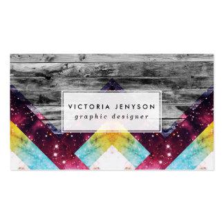 Purple Teal Nebula Geo Triangles Gray Stripes Wood Business Card