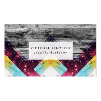 Purple Teal Nebula Geo Triangles Gray Stripes Wood Pack Of Standard Business Cards