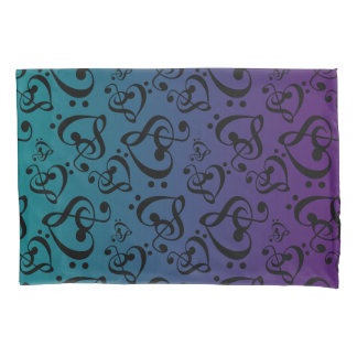 Purple Teal Ombre Clef Hearts Music Notes Pattern Pillowcase