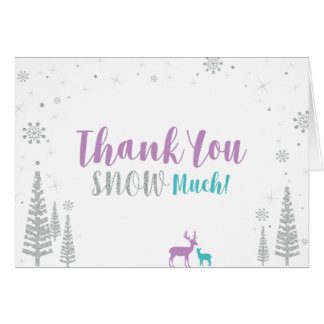 Purple, Teal & Silver: Winter Birthday Thank You Card