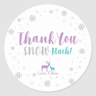 Purple, Teal & Silver: Winter Party Thank you Classic Round Sticker