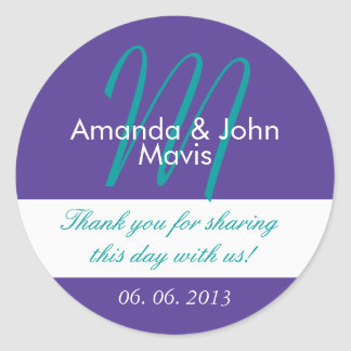 Purple Teal Simple Initial Wedding Favor Thank You Round Sticker