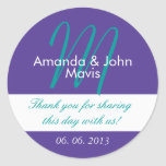 Purple Teal Simple Initial Wedding Favour Thank Round Sticker
