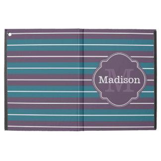 "Purple Teal Stripe Pattern Monogram Name iPad Pro 12.9"" Case"