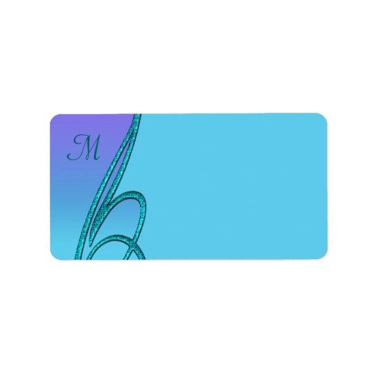 Purple Teal Swirl Monogram Address Labels