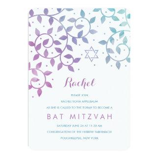 Purple + Teal Tree of Life Bat Mitzvah Invitations