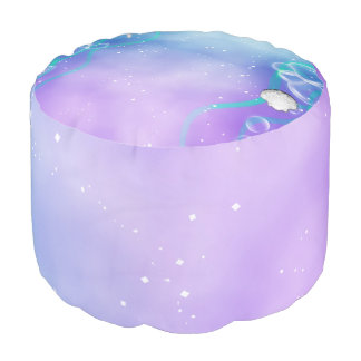 Purple & Teal Under the Sea Enchanted Ocean Pouf
