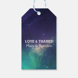 Purple & Teal Universe Nebula Wedding Gift Tags