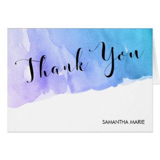 Purple Teal Watercolor Bat Mitzvah Thank You Card