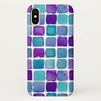 purple teal watercolor squares iPhone case