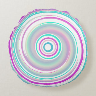 Purple & Teal Whirl - Cotton Round Pillow