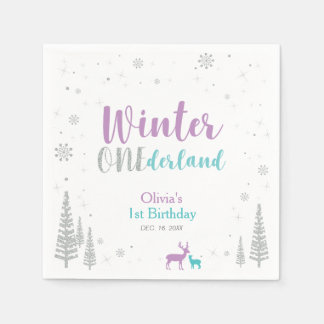 Purple & Teal Winter Onederland 1st Birthday Party Paper Napkins