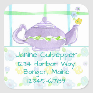 Purple Teapot Return Address Custom Name Square Sticker