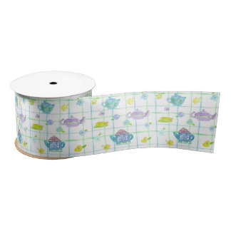 Purple Teapots Watercolor Flowers Satin Ribbon