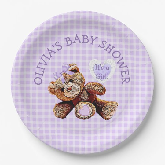 PURPLE Teddy Bear Baby Shower Paper Plates 9 Inch Paper Plate